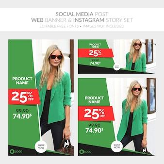 Social media post web banner und instagram story-sammlung