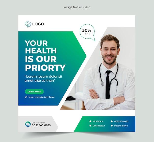Social-media-postbanner für medizinisches gesundheitswesen und banner-vorlage für instagram-posts