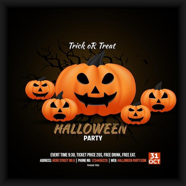 Social-media-poster-flyer-einladung zum feiern der halloween-party