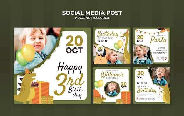 Social-media-postvorlage für kindergeburtstagsfeier