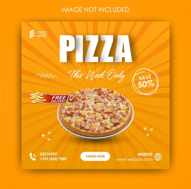 Social media promotion pizza essen und instagram post design vorlage