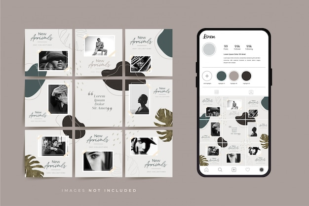 Social media puzzle frame grid post vorlage für modeverkaufsförderung