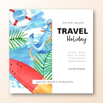 Social media-reise am feiertagssommer das strand palme-ferien-, see- und himmelsonnenlicht