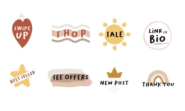 Social media sale stories elemente. shop, verkauf, link in bio, bestseller, siehe angebote, neue post wischen und danke. anzeige sonderangebot im urlaub online-shopping-rabatt-konzept