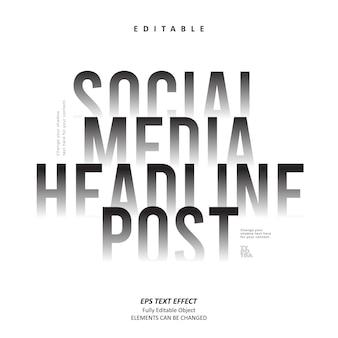 Social-media-schlagzeile post-schatten-texteffekt bearbeitbar premium-vektor