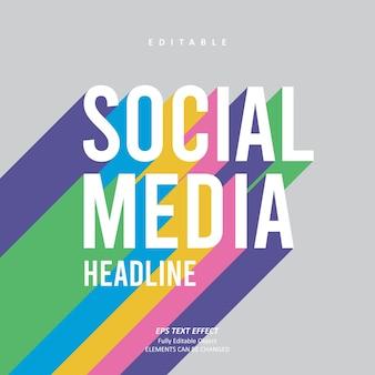 Social-media-schlagzeile regenbogen-texteffekt bearbeitbarer premium-premium-vektor