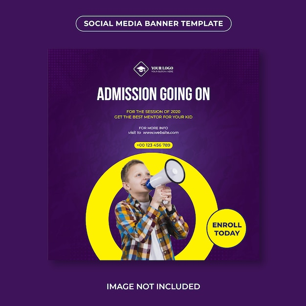 Social media schule aufnahme banner vorlage Premium Vektoren