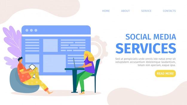 Social media service am seitenkonzept, illustration. mobile internet-website für unternehmen, digitales netzwerk und personen. online-vorlage computertechnologie, mann frau charakter bei app.