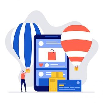 Social media shopping illustration konzept mit charakteren und handy oder smartphone.