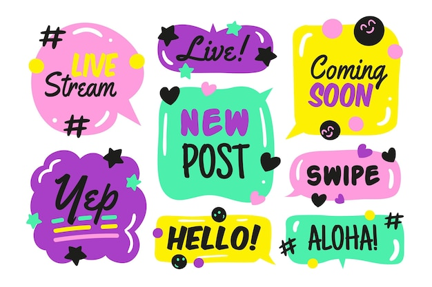 Social media slang bubble set design