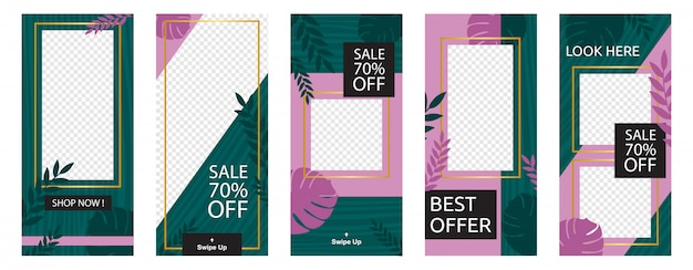 Social media stories geschäft verkauf marketing promotion banner template set