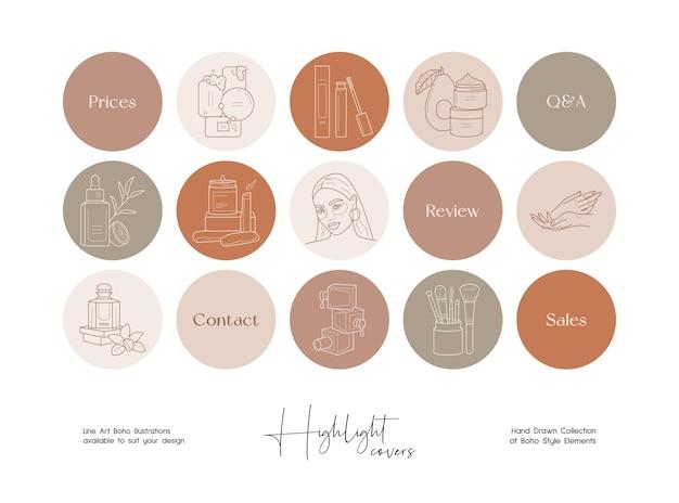 Social media story highlight beauty und boho style line illustration set