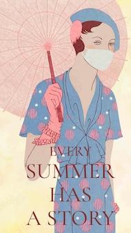 Social-media-story-vorlagenvektor mit frau, die vintage-regenschirm hält, remixed von kunstwerken von m. renaud