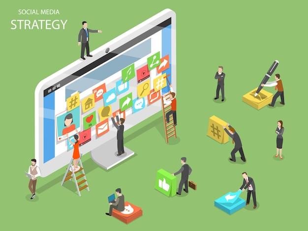 Social-media-strategie flach isometrisch