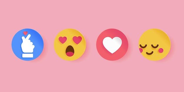 Social media symbol für valentinstag. papercut-stil. emoticons