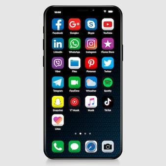 Social media-symbol in der iphone-oberfläche. die beliebtesten social-media-symbole werden festgelegt