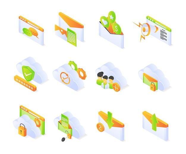 Social-media-symbol mit isometrischem stil setzt premium-vektor modern