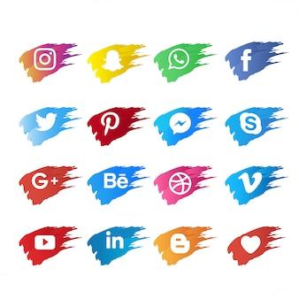 Social media-symbol mit pinsel