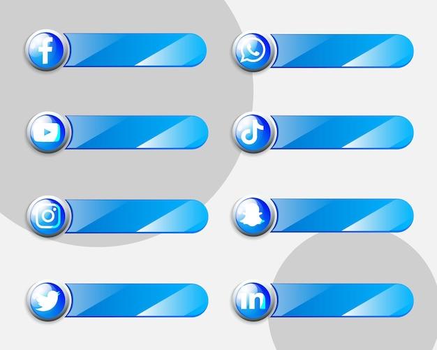 Social-media-symbole-etiketten-sammlungspaket