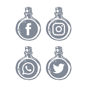 Social media-symbole flaschenvorlage