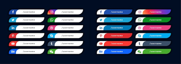 Social-media-symbole im unteren drittel banner