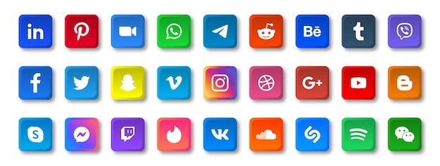 Social-media-symbole in quadratischen schaltflächen mit runden ecklogos