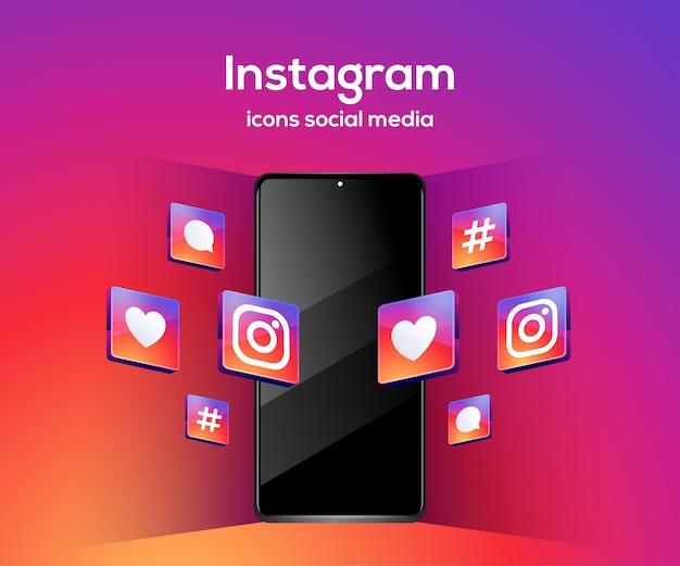 Social-media-symbole von instagram 3d mit smartphone-symbol
