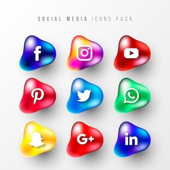 Social media-symbolsätze mit fließenden formen