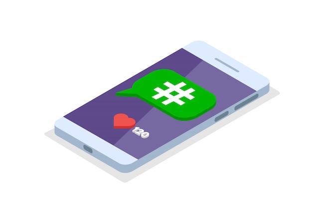 Social media-telefon in der isometrischen perspektive