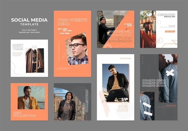 Social media template blog mode verkaufsförderung. vollständig bearbeitbares instagram- und facebook-quadrat-post-rahmen-bio-verkaufsposter. orange schwarz weißer werbebanner vektor hintergrund