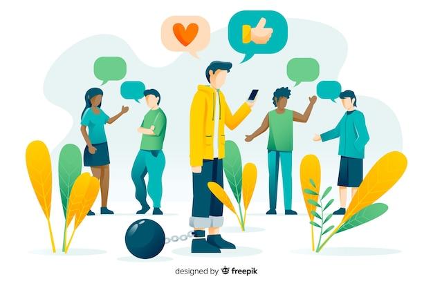 Social media tötet freundschaftskonzept