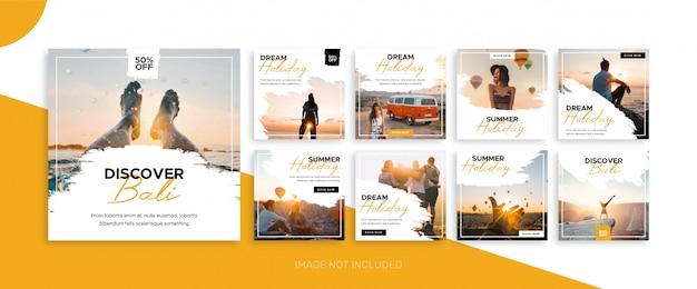 Social media travel feed post bundle kit vorlage Premium Vektoren