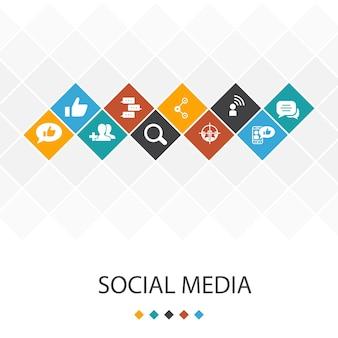 Social media trendiges ui-vorlagen-infografik-konzept. like, share, follow, kommentarsymbole