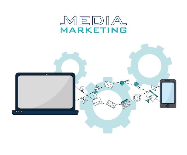 Social media und digitale marketing-symbole