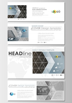 Social media und e-mail-header festgelegt. cover-designvorlage, polygonale moleküle