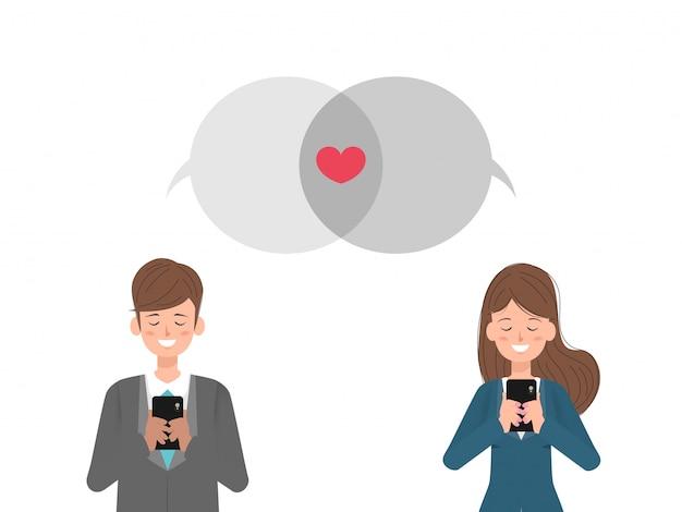Social media und kommunikation am valentinstag.