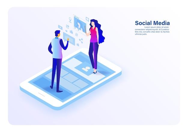 Social media und menschen konzept