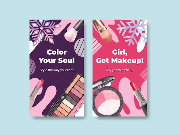 Social media-vorlage mit make-up-konzeptdesign für social media- und community-aquarell.