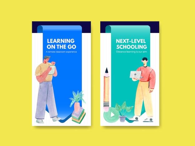 Social media vorlage mit online-lernkonzept design aquarell illustration