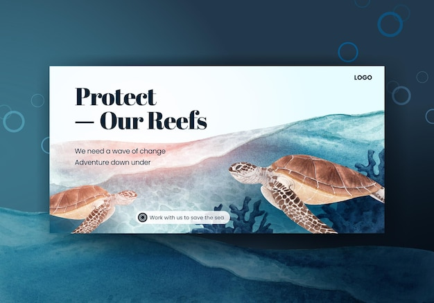 Social media vorlage mit sea life konzept design aquarell illustration