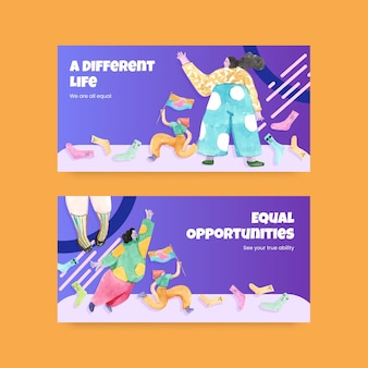Social media vorlage mit world down syndrom tag konzept design aquarell illustration