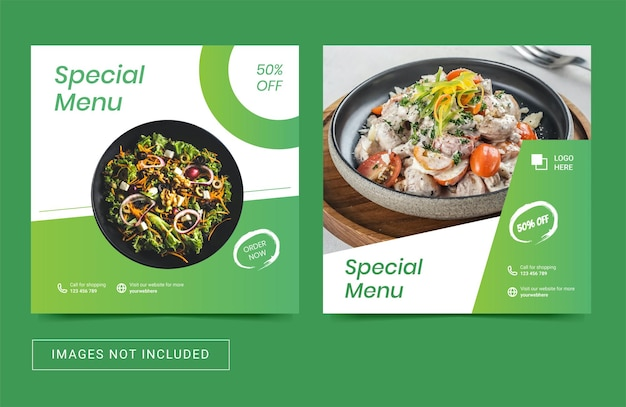 Social-media-vorlagenpost für kulinarische menüaktion für lebensmittelkuchen food