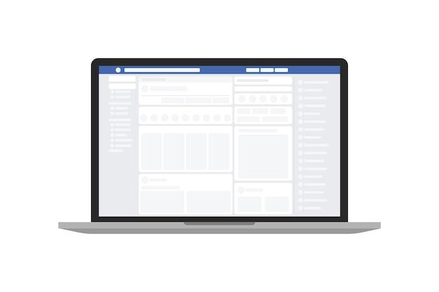 Social media webseite in ihrem browser in laptop.
