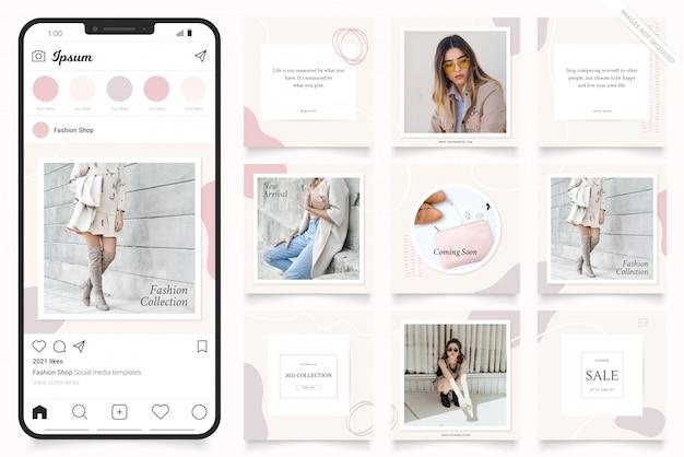 Social media werbevorlage für instagram stories und facebook banner