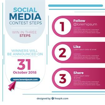 Social-media-wettbewerb oder werbegeschenk-konzept