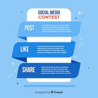 Social-media-wettbewerb schritte mit flachem design