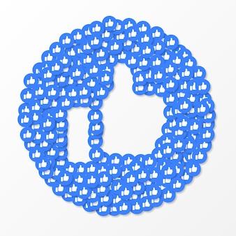 Social media wie icons hintergrund, vektor-illustration