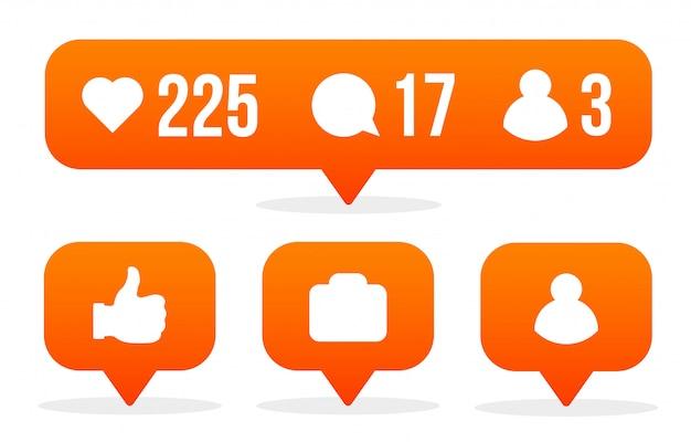 Social-media-zeichen mögen, anhänger, kommentar.