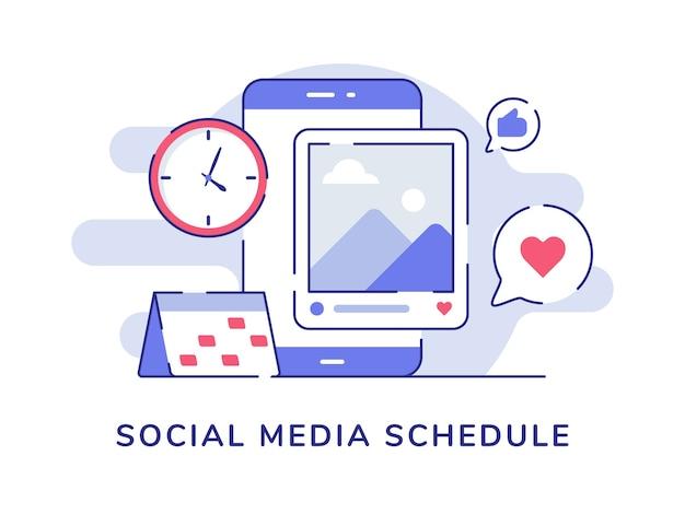 Social media zeitplan bilderbeitrag auf dem display smartphone bildschirm feedback wie herz mit flachen umriss stil