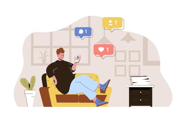 Social-network-konzept-mann, der posts likes und kommentare auf dem smartphone durchsucht